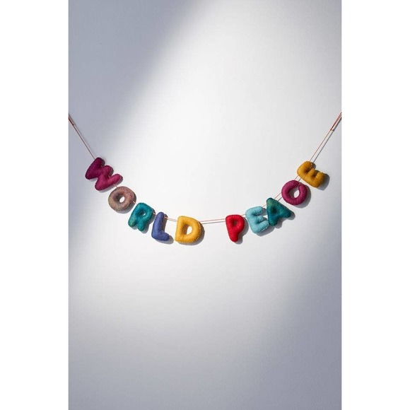 Urban Outfitters home world peace garland banner holiday ornament